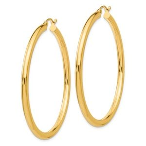 BringJoyCollection Jewelry - 14k Yellow Gold Round Hoop Earrings 49 x 3mm